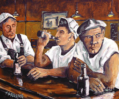 Quebec Streets Painting - Railroad Men At The Bar By Prankearts by Richard T Pranke