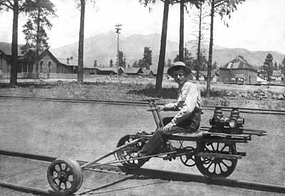 Land Feature Photograph - Railroad Outrigger Bike by Underwood Archives
