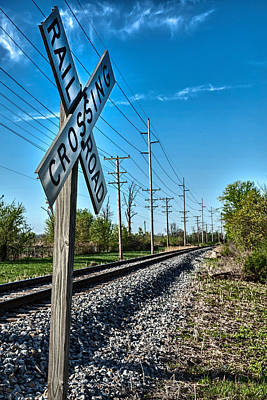 Deep Blue Photograph - Railroad Crossing Kentucky by David Smith