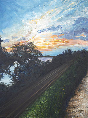 Rails Along The River Print by Monica Veraguth