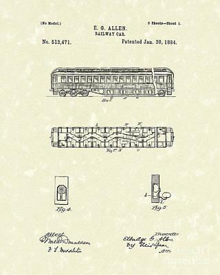Railway Car 1894 Patent Art Print by Prior Art Design
