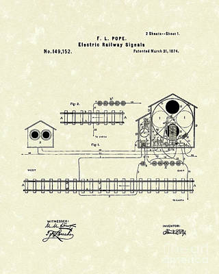 1874 Drawing - Railway Signals 1874 Patent Art by Prior Art Design