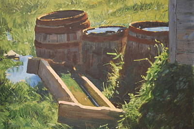 Rain Barrel Painting - Rain Barrels With Watering Trough by Len Stomski