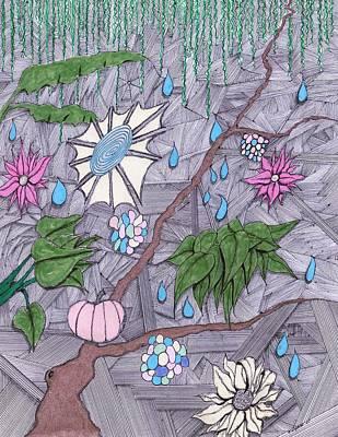 Drawing Mixed Media - Rain by Dan Twyman