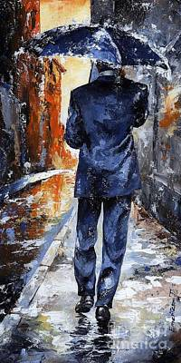 City Street Scene Painting - Rain Day #20 by Emerico Imre Toth