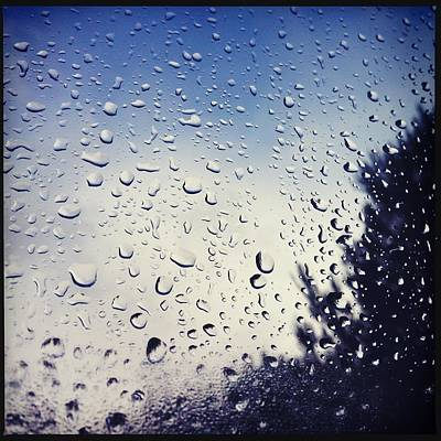 Rain Drops On A Window Pane Print by Marco Oliveira