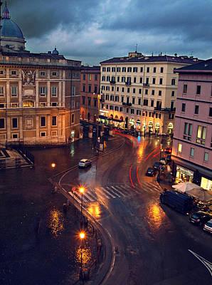 Rain Night In Rome Print by Patrick Horgan