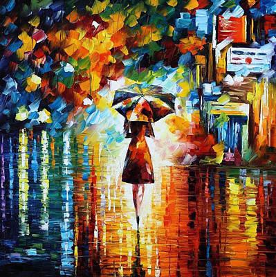Rain Princess - Palette Knife Figure Oil Painting On Canvas By Leonid Afremov Print by Leonid Afremov