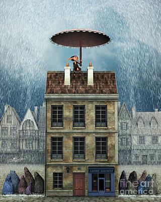 Rain Digital Art - Rain Protection by Jutta Maria Pusl