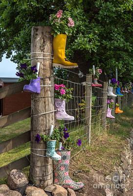 Rainboots Flowerpots Print by Iris Richardson