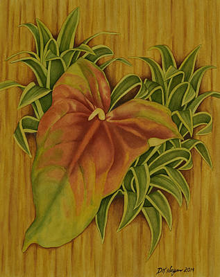 Tropical Art Painting - Rainbow Anthurium by DK Nagano