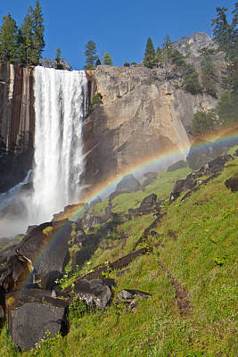 Rainbow At Vernal Falls Yosemite National Park Print by Natural Focal Point Photography