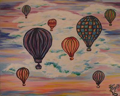 Balloon Fiesta Painting - Rainbow Balloons by Lynne Sanchez