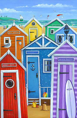 Rainbow Beach Huts Print by Peter Adderley