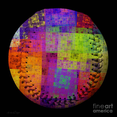 Rainbow Bliss Baseball Square Print by Andee Design