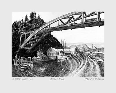 Ink Wash Drawing Painting - Rainbow Bridge La Connor W A by Jack Pumphrey