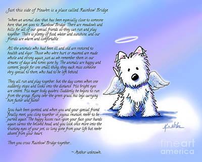 Westie Terrier Digital Art - Rainbow Bridge Poem With Westie by Kim Niles