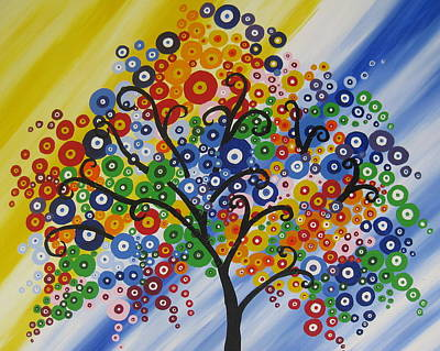 Living With Joy Painting - Rainbow Bubble Tree by Cathy Jacobs