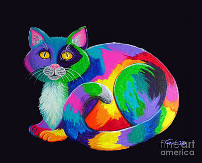 Of Cat Painting - Rainbow Calico by Nick Gustafson