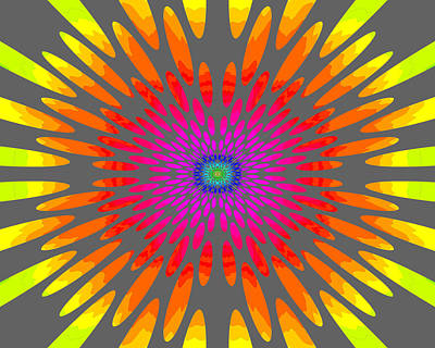 Sixties Painting - Rainbow Daisy Mandala  C2014  by Paul Ashby