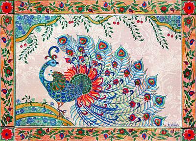 Madhubani Painting - Rainbow Feathers by Anjali Vaidya