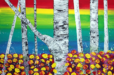 Abstract Painting - Rainbow Forest by Laura Barbosa