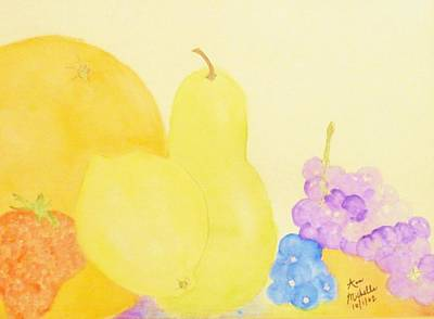 Rainbow Fruits And The Floating Lemon Print by Ann Michelle Swadener