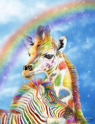 Giraffe Mixed Media - Rainbow Giraffe And Zebra by Carol Cavalaris