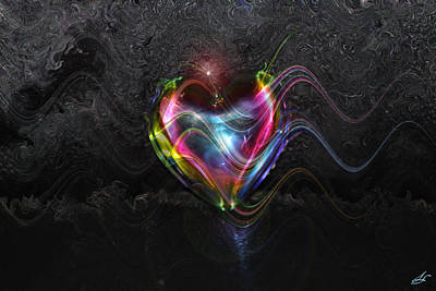 Energy Art Movement Digital Art - Rainbow Heart by Linda Sannuti