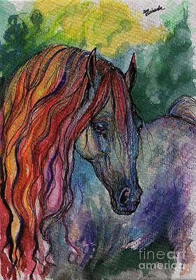 Rainbow Horse 3 Print by Angel  Tarantella
