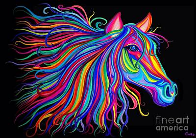 Pony Drawing - Rainbow Horse Too by Nick Gustafson