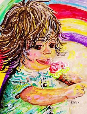 Grandparent Mixed Media - Rainbow Ice Cream by Eloise Schneider