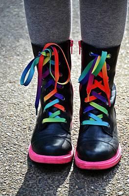 Urban Art Photograph - Rainbow Laces by Marianna Mills