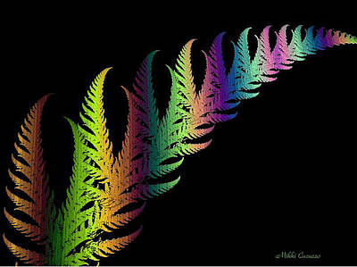 Rainbow Leaves Fractals Print by Mikki Cucuzzo