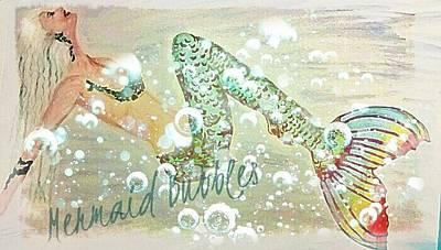 Mermaid Mixed Media - Rainbow Mermaid Bubbles  by ARTography by Pamela Smale Williams