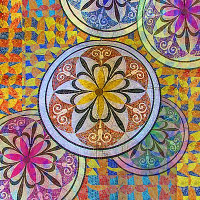 Rainbow Mosaic Circles And Flowers Original by Tony Rubino