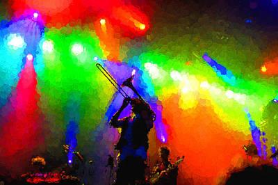 Rainbow Music - Trombone Solo In The Limelight Print by Georgia Mizuleva