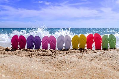 Rainbow Of Flip Flops On The Beach Original by Teri Virbickis