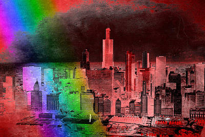Rainbow On Chicago Mixed Media Textured Print by Thomas Woolworth