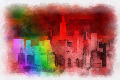 Rainbow On Chicago Print by Thomas Woolworth
