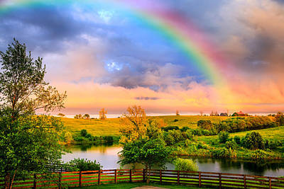 Tree Photograph - Rainbow Over Countryside by Alexey Stiop