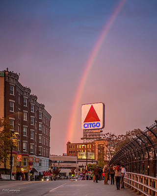 Rainbow Over Fenway Print by Paul Treseler