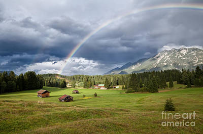rainbow over Karwendel mountain range in Bavaria Print by Olha Rohulya