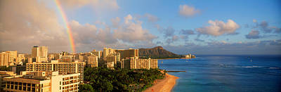 Waikiki Photograph - Rainbow Over The Beach, Diamond Head by Panoramic Images