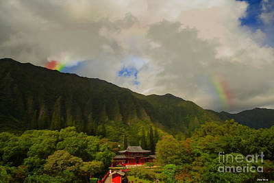 Gong Photograph - Rainbow Over The Temple by Cheryl Young