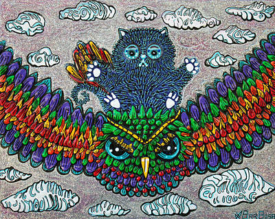 Owl Painting - Rainbow Owl Ride by Laura Barbosa