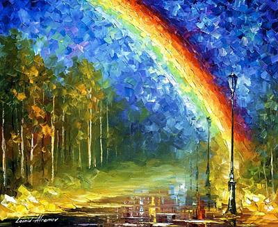 Rainbow - Palette Knife Oil Painting On Canvas By Leonid Afremov Original by Leonid Afremov
