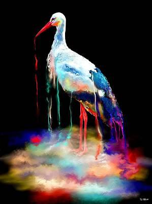 Stork Painting - Rainbow Pond Stork by Daniel Janda