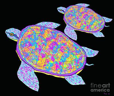 Sea Turtles Drawing - Rainbow Sea Turtles by Nick Gustafson
