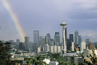 On Location Photograph - Rainbow Seattle Wa by Panoramic Images